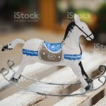 Antique Rocking Horse Toy In White And Blue Stock Photo Download Image Now Istock