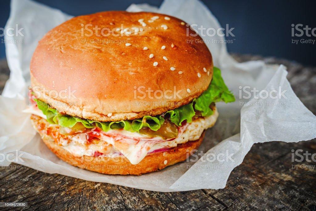 appetizing homemade burger in