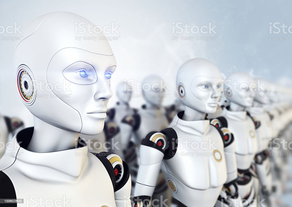 army of robots stock