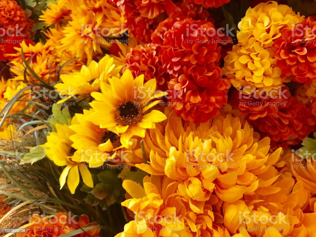 artificial fall flowers stock
