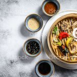 Assorted Dim Sum Appetizers In A Bamboo Steamer Set Of Chinese Food Gray Background Top View Copy Space Stock Photo Download Image Now Istock