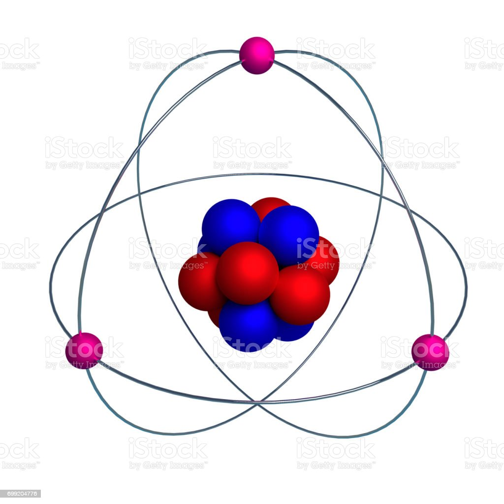 hight resolution of atom model with proton neutron and electron isolated on white stock image