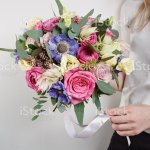 Beautiful Bouquet Made Of Different Flowers With In Woman Hand Stock Photo Download Image Now Istock