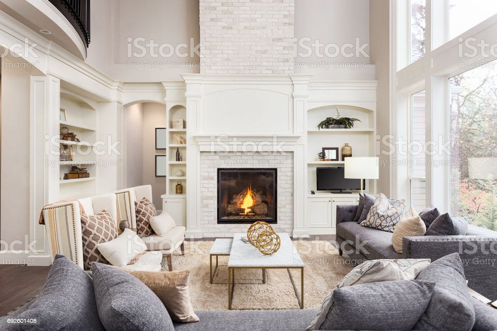 pic of beautiful living room light blue wall royalty free pictures images and stock photos istock interior with tall vaulted ceiling loft area hardwood floors fireplace