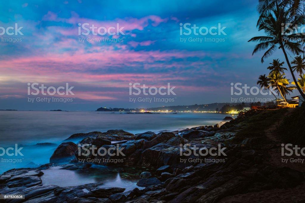 beautiful night landscape rocky