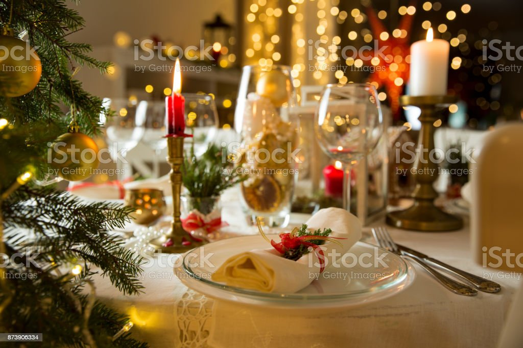 Beautiful Served Table With Christmas Decorations Candles And Lanterns Stock Photo Download Image Now Istock