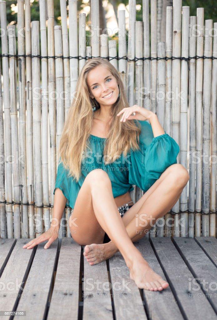 Beautiful Woman In Beach Fashion Candid Playful Expression
