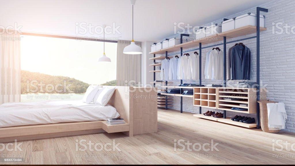 photo libre de droit de chambre et dressing chambre loft style interior design lit en bois et meubles armoire bois blanc mur de brique et parquet etage rendu 3d banque d images et
