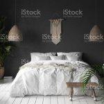 Schlafzimmer Innenraum Mit Schwarze Wand Boho Stil Dekor Und Weissen Bett Stockfoto Und Mehr Bilder Von Alt Istock