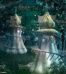 Bizarre Elf Village In The Middle Of The Forest Stock Photo Download Image Now iStock
