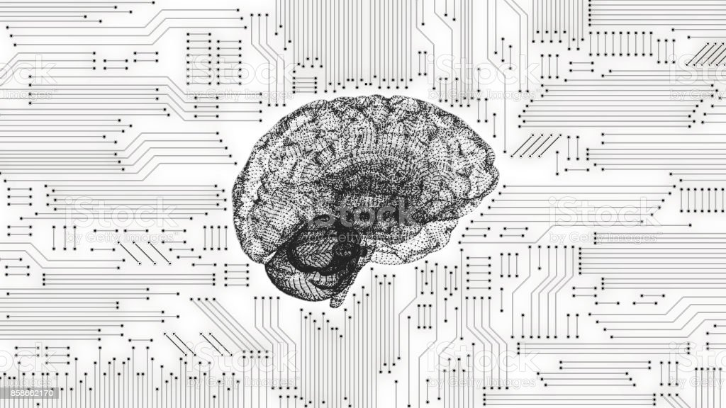 Black And White Computer Brain With Inverted Circuit Board