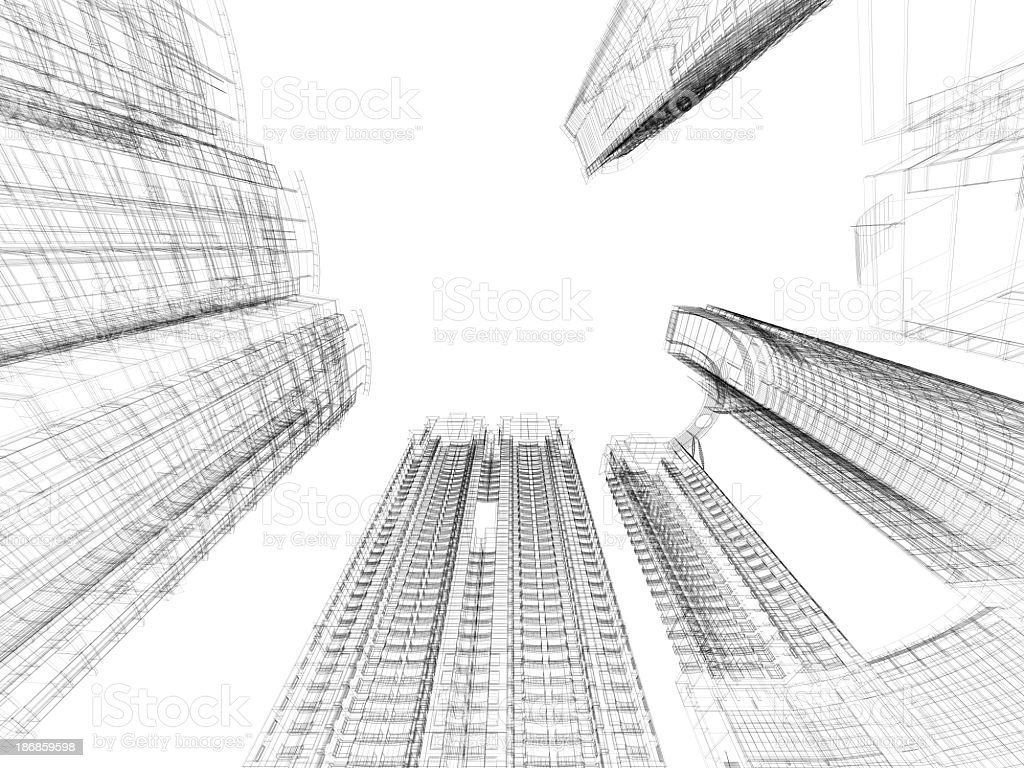 A Black And White Skyscraper Blueprint In Wire Frame Stock
