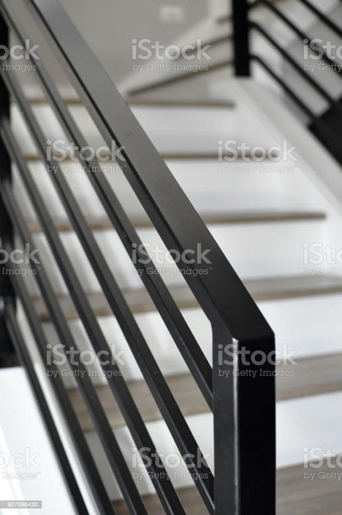 Black Metal Stairway Railing Stock Photo Download Image Now Istock   Black Metal Railing For Stairs   Rail   Double Basket   Kid Safe   Residential   Modern