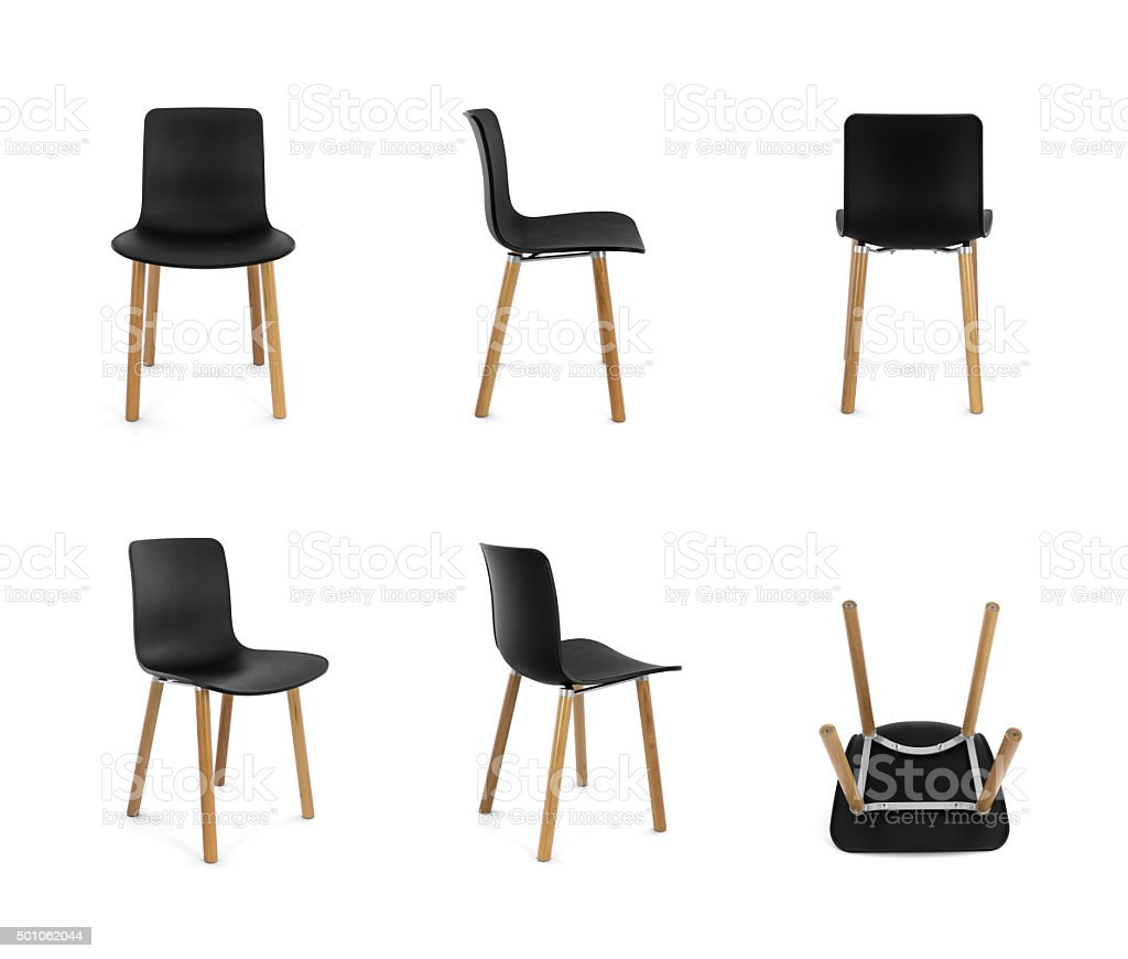 black plastic chair with wooden legs bliss zero gravity lounge modern wood multiple angles stock image