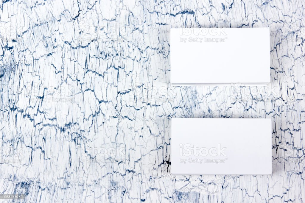 Blank Business Cards On The Wooden Table Template For Id Top View ...