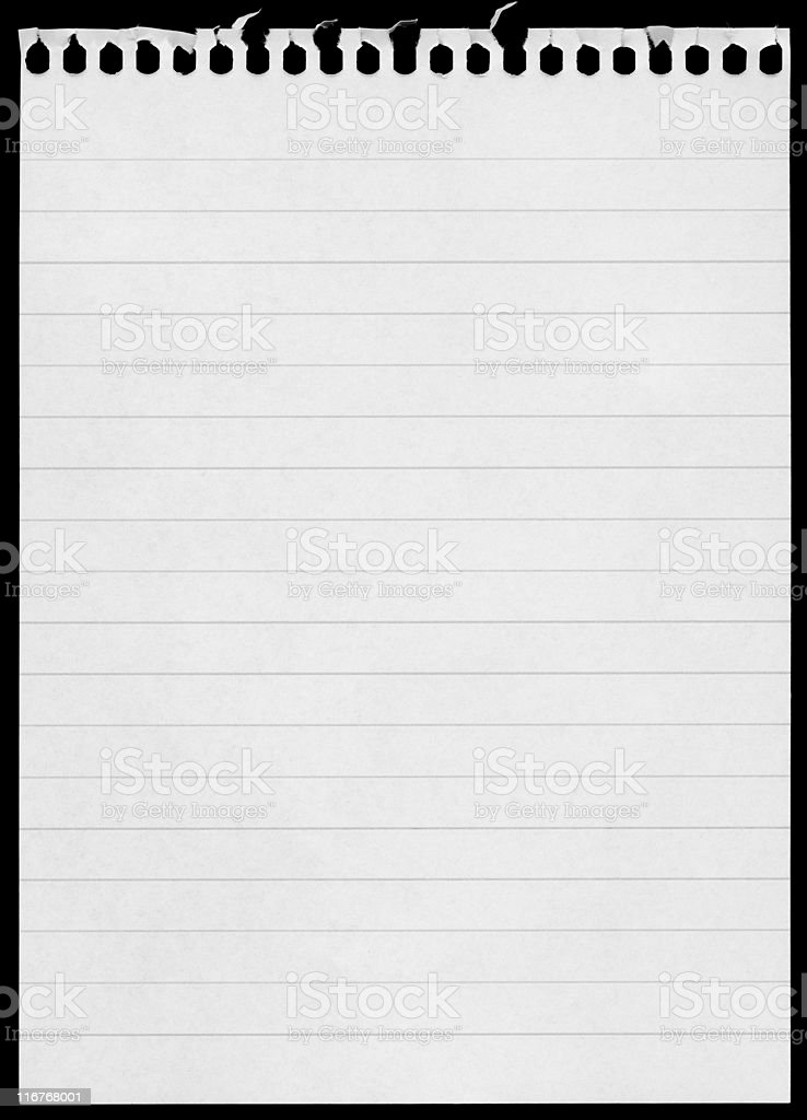 Blank Notepad Page Isolated On Black Background Stock