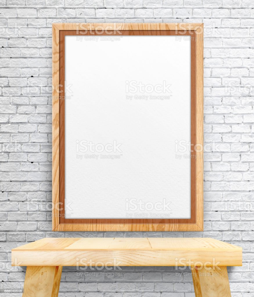 Blank Wooden Photo Frame Hanging At White Brick Wall On Wood Table,template  Mock Up