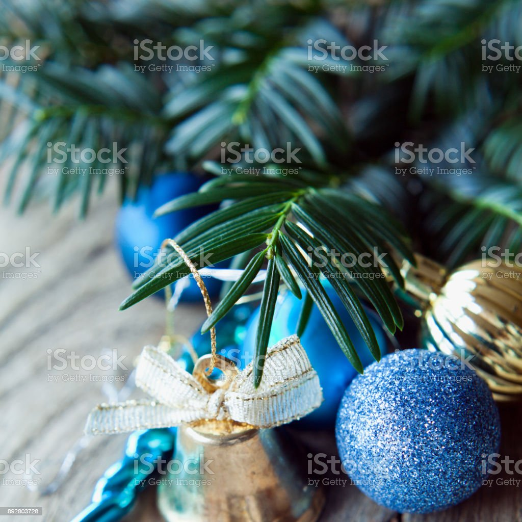 Blue Gold Silver Cold Baubles Christmas Decorations Stock Photo Download Image Now Istock
