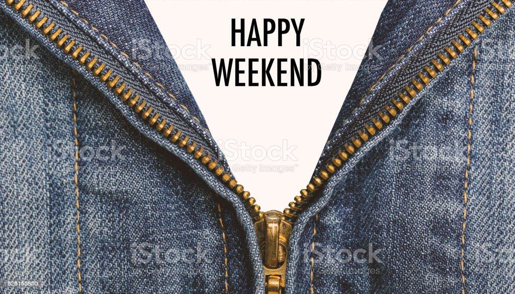 Blue Jean Clothing With Happy Weekend Message For Background