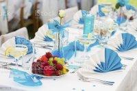Bluewhite Wedding Table Setting Stock Photo & More ...