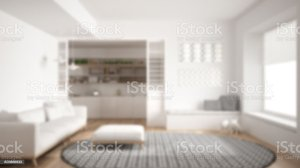 background blur living interior blurry carpet round sofa minimalist kitchen royalty similar domestic