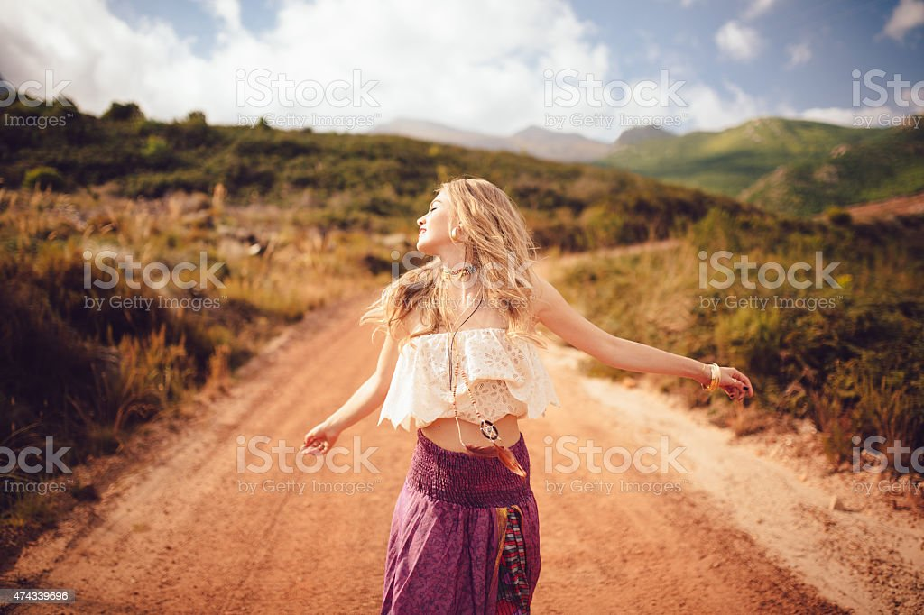 Wallpaper Hippie Girl Boho Girl On A Country Dirt Road Being Joyful Stock Photo