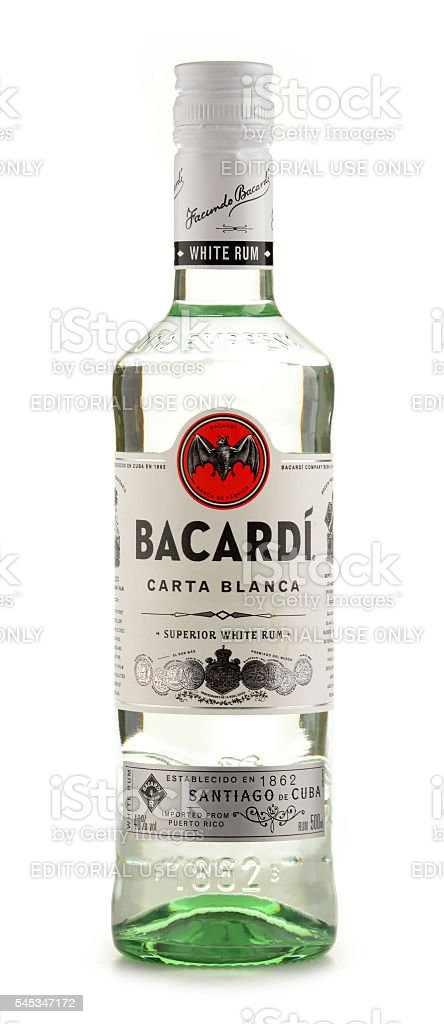 Bottle Of Bacardi White Rum Isolated On White Stock Photo - Download Image Now - iStock