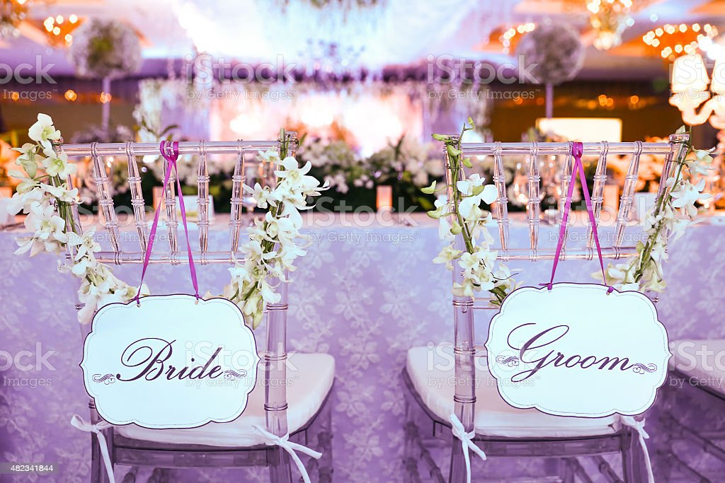 wedding bride and groom chairs craigslist dining chair at reception stock photo more image