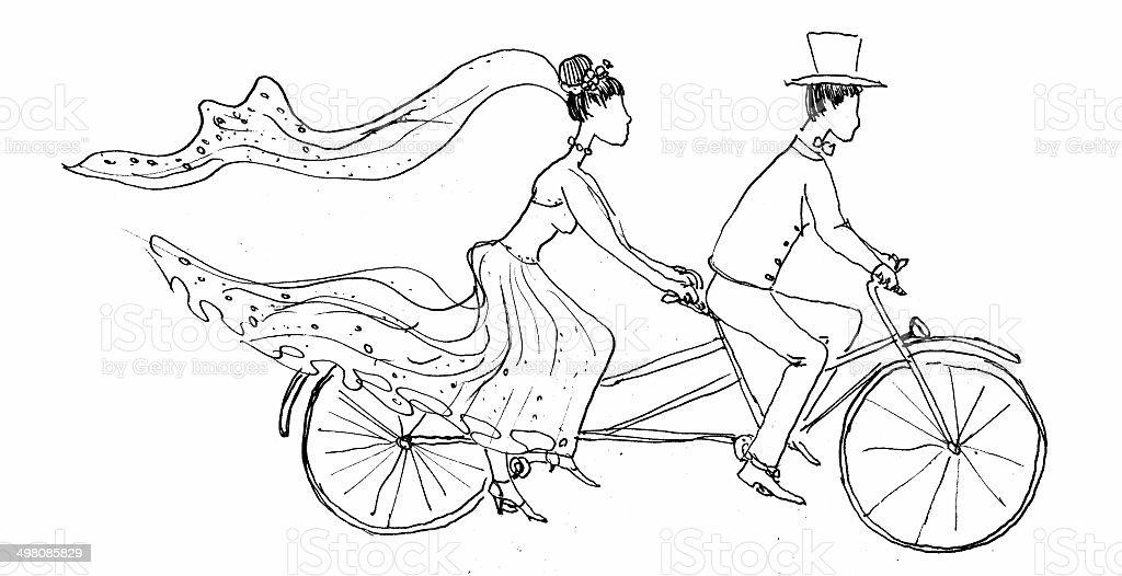 Brautpaar Reiten Fahrrad Stockfoto und mehr Bilder von