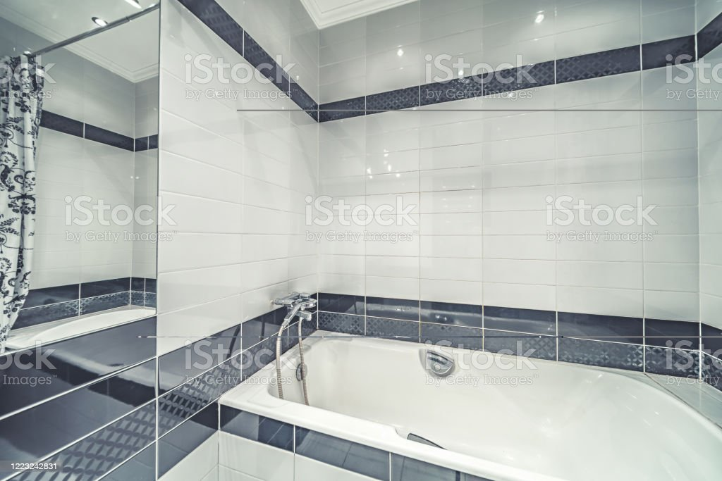 bright nice small modern bathroom tile interior stock photo download image now istock