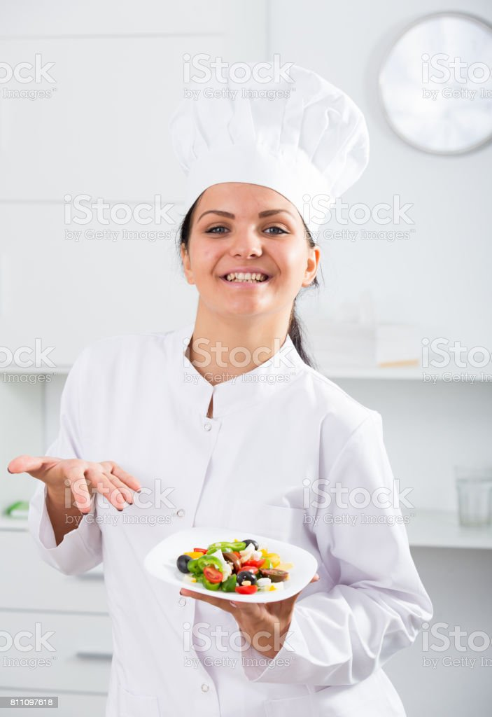 brunette girl chef and