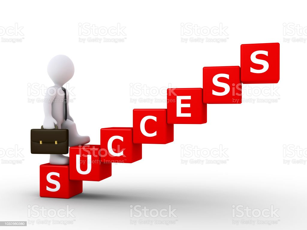 businessman climbing stairs of