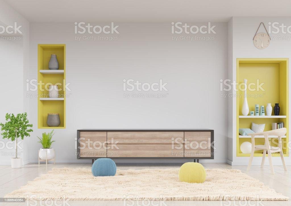 https www istockphoto com fr photo meuble tv dans le salon moderne avec plateau jaune table fleur chaise et plante gm1088840364 292073869