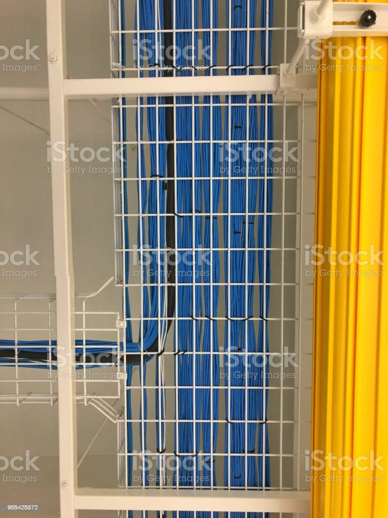 medium resolution of lan cable wiring on the cable rack in the datacenter stock image