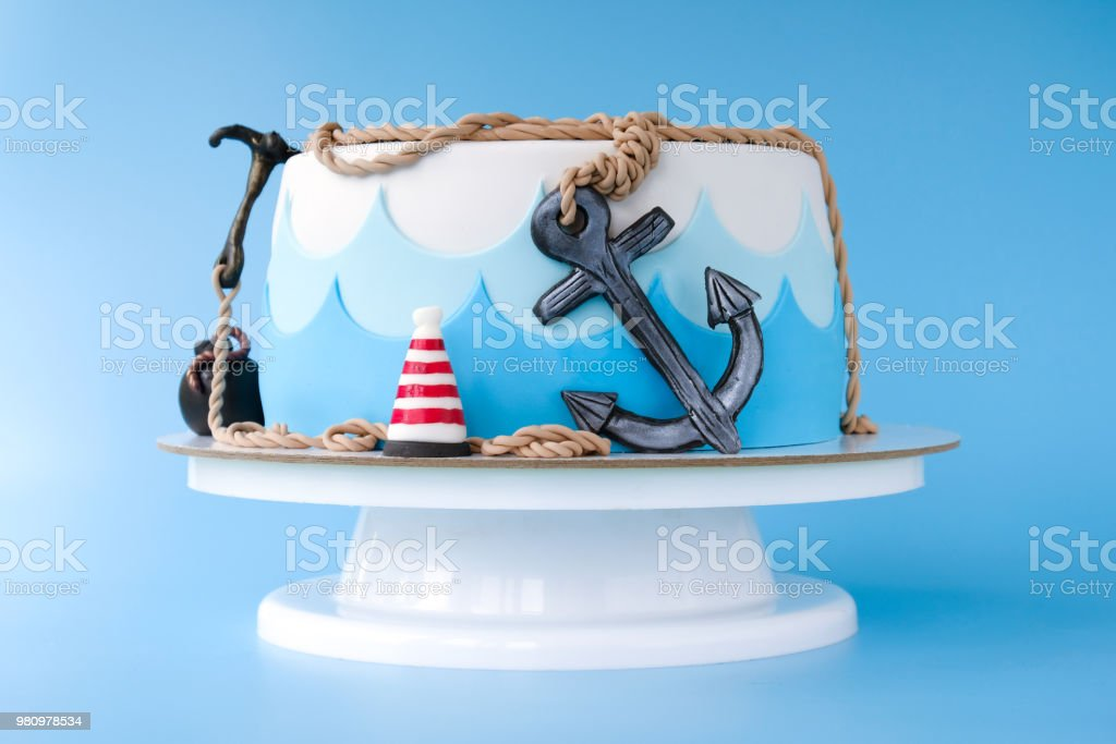 Cake For The Childs Birthday On A Pirate Theme Decorated With Sea