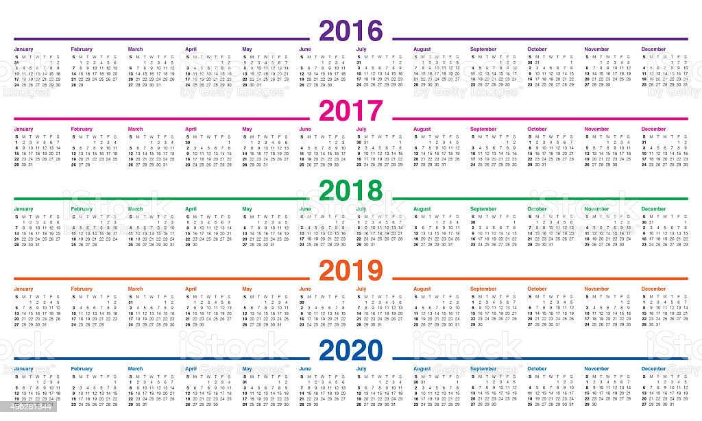 Calendar 2016 2017 2018 2019 2020 Stock Photo 496281344