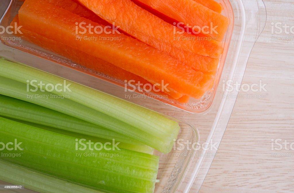 Carrot Sticks And Celery Sticks In Plastic Tray Stock ...