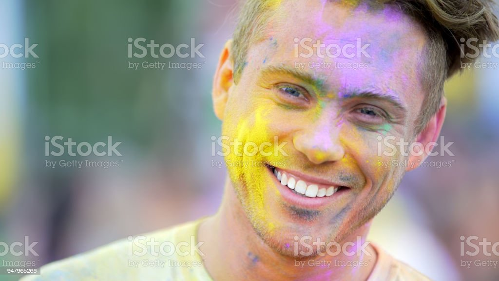cheerful face of young