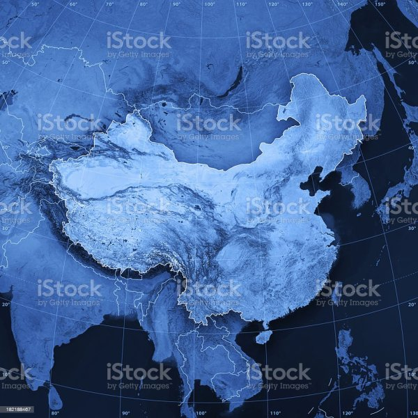 China Topographic Map Stock Photo More Pictures of Asia