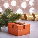 Christmas Decoration With Gift Boxes And Christmas Tree On A