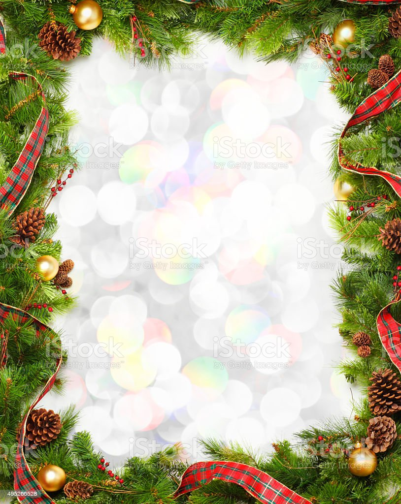 Wallpaper Natal Hd Christmas Garland Frame In Front Of Blurred Lights Stock
