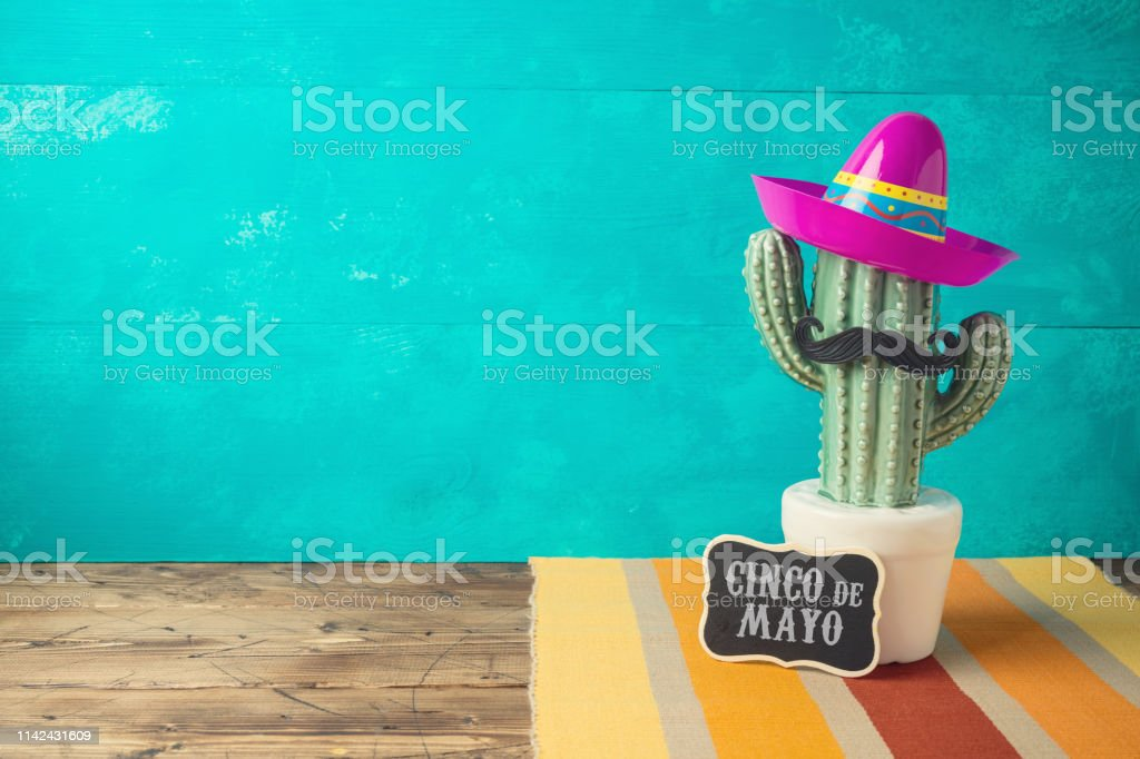 Cinco De Mayo Holiday Background With Mexican Cactus And
