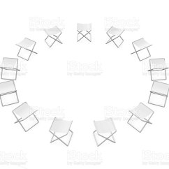Folding Circle Chairs Brushed Metal Dining Of Stock Photo More Pictures Arrangement Istock