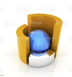 3d circular diagram and sphere on white background stock image  [ 1024 x 1024 Pixel ]