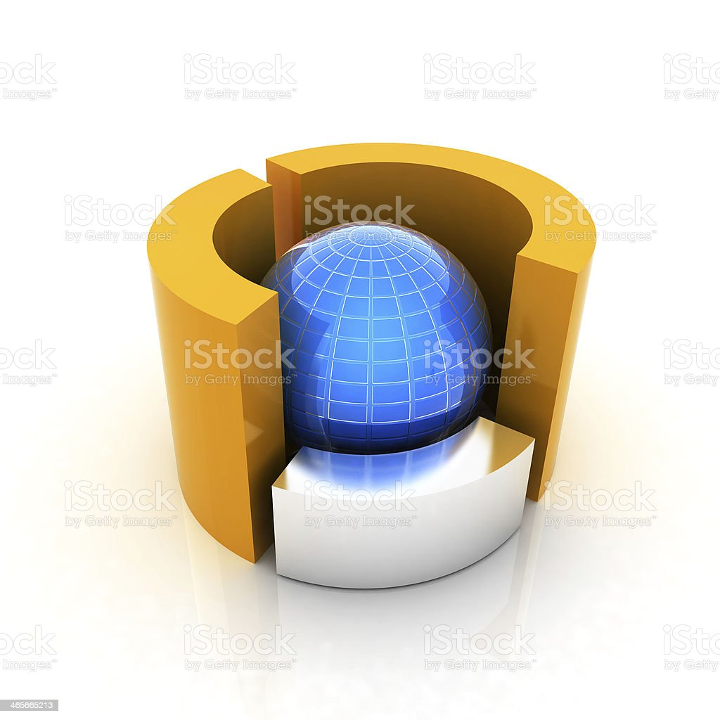 hight resolution of 3d circular diagram and sphere on white background royalty free stock photo