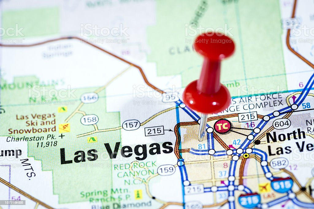 Interestingly, las vegas is recognized as the entertainment capital of the world because it is an international major resort for gambling, shopping, and fine dining. Us Cities On Map Series Las Vegas Nevada Stock Photo Download Image Now Istock