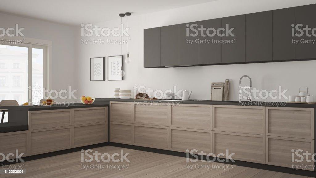 https www istockphoto com fr photo cuisine classique avec des d c3 a9tails en bois et sol en parquet d c3 a9coration minimaliste gm843363664 137814401