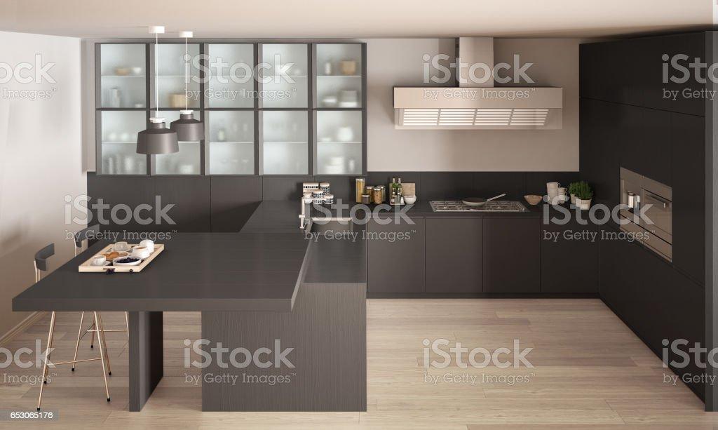 gray kitchen floor coastal table 鑲木地板現代室內設計的經典小灰色廚房照片檔及更多住宅內部照片 istock 鑲木地板 現代室內設計的經典小灰色廚房免版稅stock photo