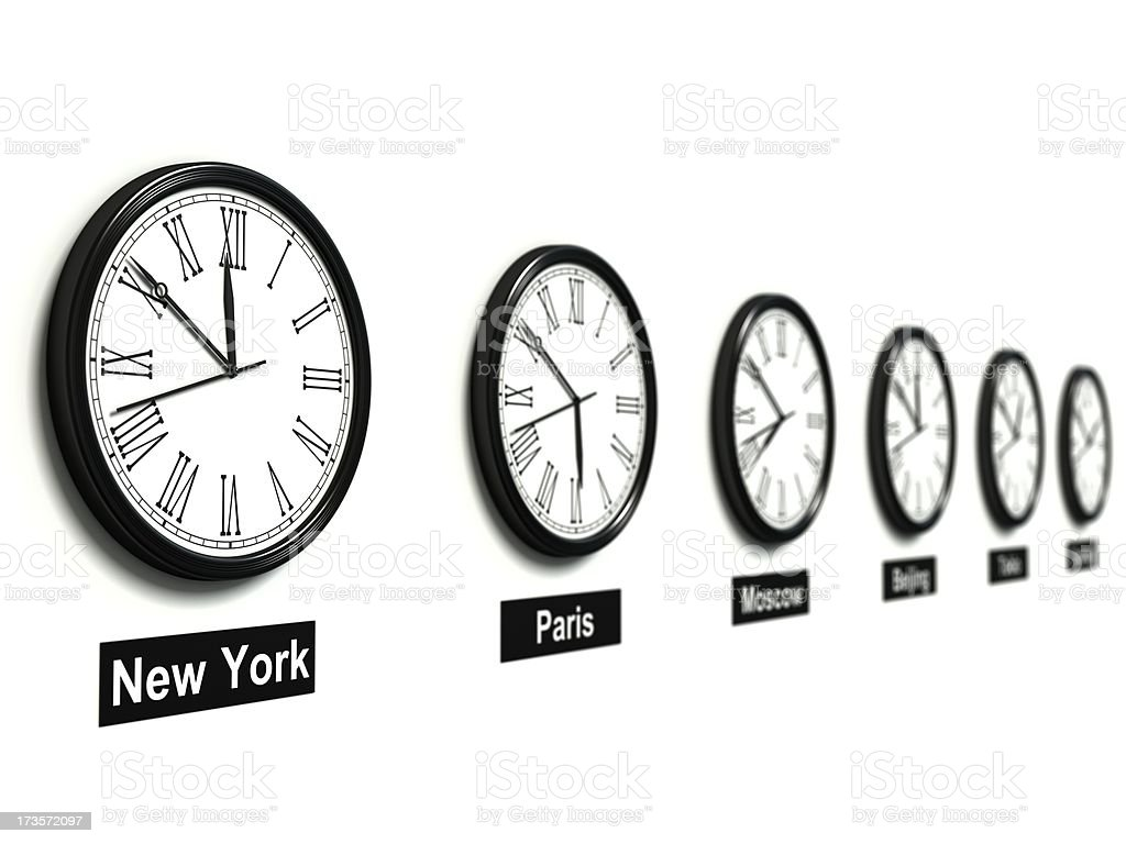 Clocks On Different Time Zones Stock Photo & More Pictures
