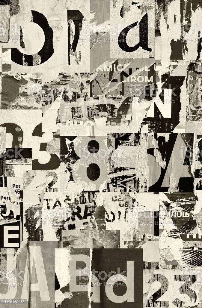 collage montage alte zerrissene papier zerknittert geknickt geknickte strasse collage poster plakat grunge texturen hintergrund stockfoto und mehr bilder von alt istock